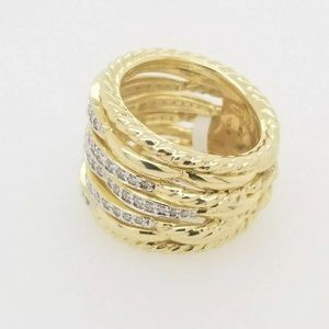 David Yurman Jewelry - DAVID YURMAN TIDES DOME 18K GOLD DIAMOND RING